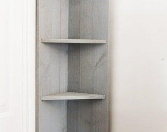 Small Wood Corner Shelf with Hangers