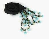Black Silk Scarflette,  Turkish oya Scarf, Womens foulard, Necktie, Oya Necklace Scarf, Cowl with needle lace oya flowers, gift for her