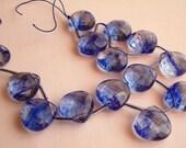 Large Blue Sapphire Quartz Faceted Heart Briolettes, 5 pcs....16X16 mm, Beautiful Beach Bridal Blue