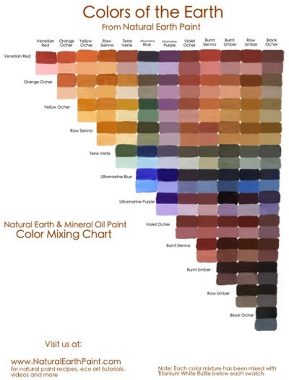 Natural earth paint color mixing chart out of stock for Oil paint colors names