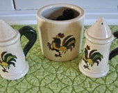 Metlox Poppytrail Provincial Rooster Salt and Pepper and Berry Jar 3 Pieces
