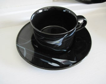 Cups and Saucers, Mikasa Galleria Opus, Black Calla Lilly, 2 sets