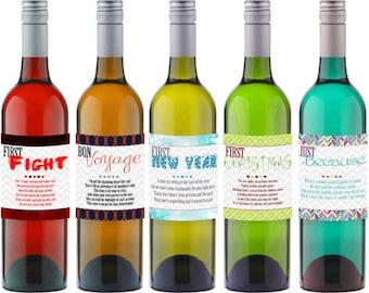 """INSTANT DOWNLOAD Wedding """"Firsts""""  Wine Bottle Labels Gift - Set of 7 labels - Digital DIY Printable"""