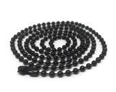 Black Ball Chain Necklace, Dog Tag Chain, Stainless Steel, 20 or 24 inch, 2.4mm