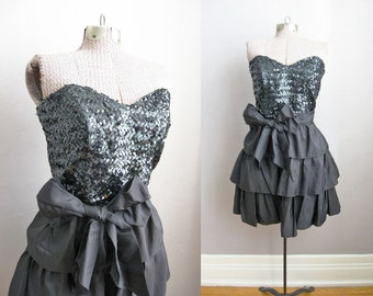 Black Party Dress 70s Strapless Ruffle Tiered Skirt Bow Sash / Small