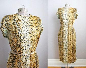 1970s Dress / Leopard Print Dress / Vintage 70s Dress / Large