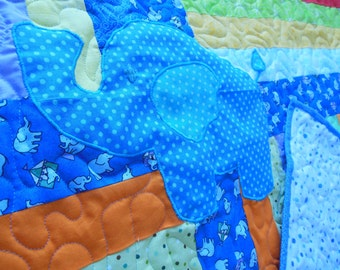 Applique Elephant Baby Crib Quilt