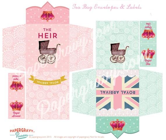 royal baby shower tea bag envelopes instant download