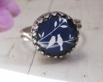 Midnight Blue and White Birds on a Branch Ring