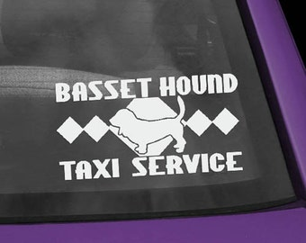 Basset Hound Taxi Vinyl Decal