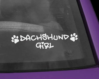 Dachshund Girl Vinyl Decal