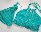 Teal Color Crochet Bikini top and brazilian bottom , Swimwear, Crochet Swimsuit, Sexy crochet beach wear,Crochet top and bottoms