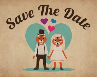 Fox Themed Vintage Retro Style Wedding Save The Date Cards invite