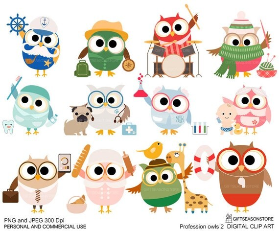 Profession owl part 2 clip art for Personal and Commercial use