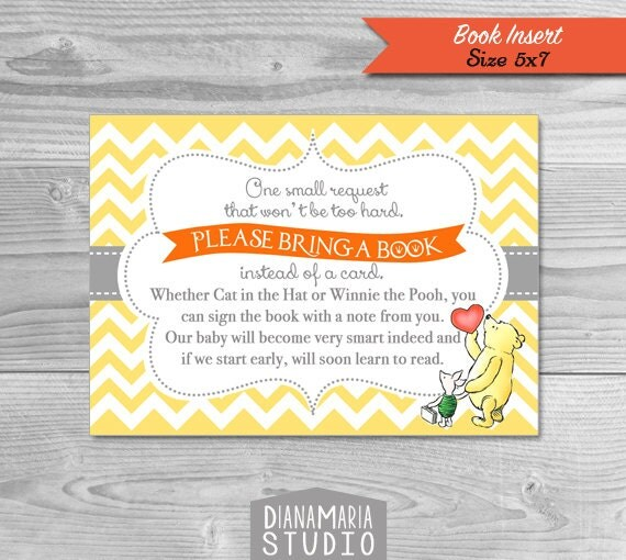Winnie the Pooh Baby Shower Book Insert bring a book card