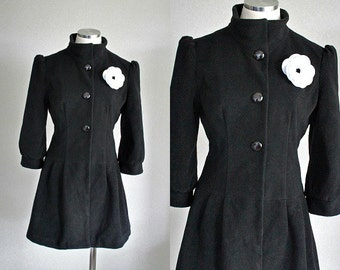 NEW handmade OOAK 1950's replica Steampunk coat with white flower brooch