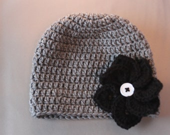 Toddler grey/black Flower Hat