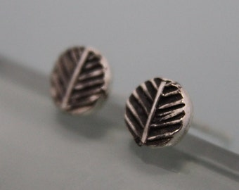 Tiny Oxidized Leaf Print Studs Sterling Silver Rustic Earrings