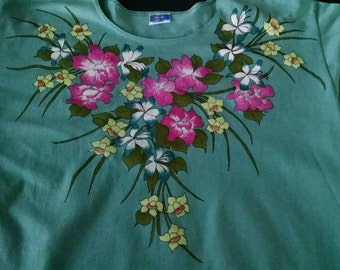 Teal Floral Handpainted T-shirt