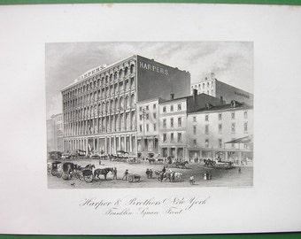 NEW YORK Franklin Square Harper & Brothers Printers Building - 1876 Antique Print Original Engraving