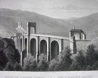 SPAIN Roman Arch Bridge at Alcantra Alcantara - 1860s Original Print Engraving SCARCE