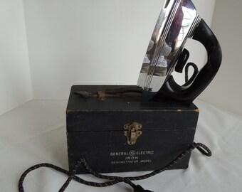 SALE - GE Iron Saleman's sample, Demo model, Original box, 119F114, Original cloth cord, Ironing day, Vintage