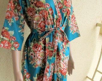 Teal Tiffany Bridesmaid Robe/ Getting Ready Dress/ Teal with Red and pink Flowers/ Mix and Match Floral Kimono Robes - Color Code - C-8