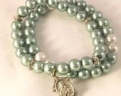 Inspirational charm bracelet  in sage, Religious jewelry, Gifts for her, Green bracelet