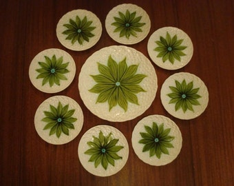 Majolica Platter and 8 Plates Lilly of the Valley Hand Painted - German