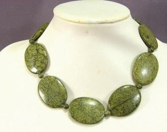 Necklace Algee Jasper 40mm Flat Ovals NSJA5429
