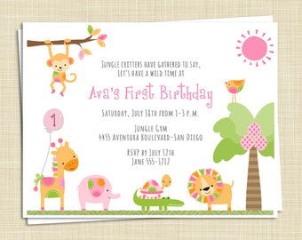 10 Birthday Party Invitations - Patchwork Jungle Zoo Safari - girl - boy - twins - PRINTED