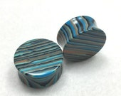 Blue Striped Concave Agate Stone Plugs