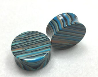 Blue Striped Concave Agate Stone Plugs