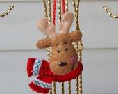 Hand Stitched 3D Felt Reindeer Ornament