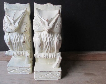 Carved Wooden Owl Bookends Vintage Distressed Off White Farmhouse Decor