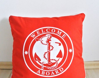 Decorative pillow cover red, cushion cover, marine, nautical, anchor