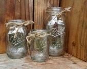 3 Vintage Silver MERCURY GLASS Country Wedding Mason Jars Silver Metallic Jar Wedding Mercury Vase Votive Holiday Rustic Wedding Votive Jar