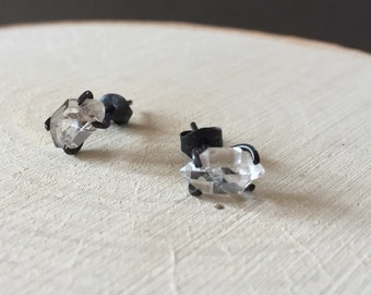 Herkimer Diamond Oxidized Silver Prong Set Stud Earrings