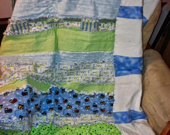 Baby Boy Flannel Rag Quilt- Free Shipping