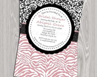 DIY Printable 4x6 Bridal Shower Invitation- Glitter Black Damask and Light Pink Zebra