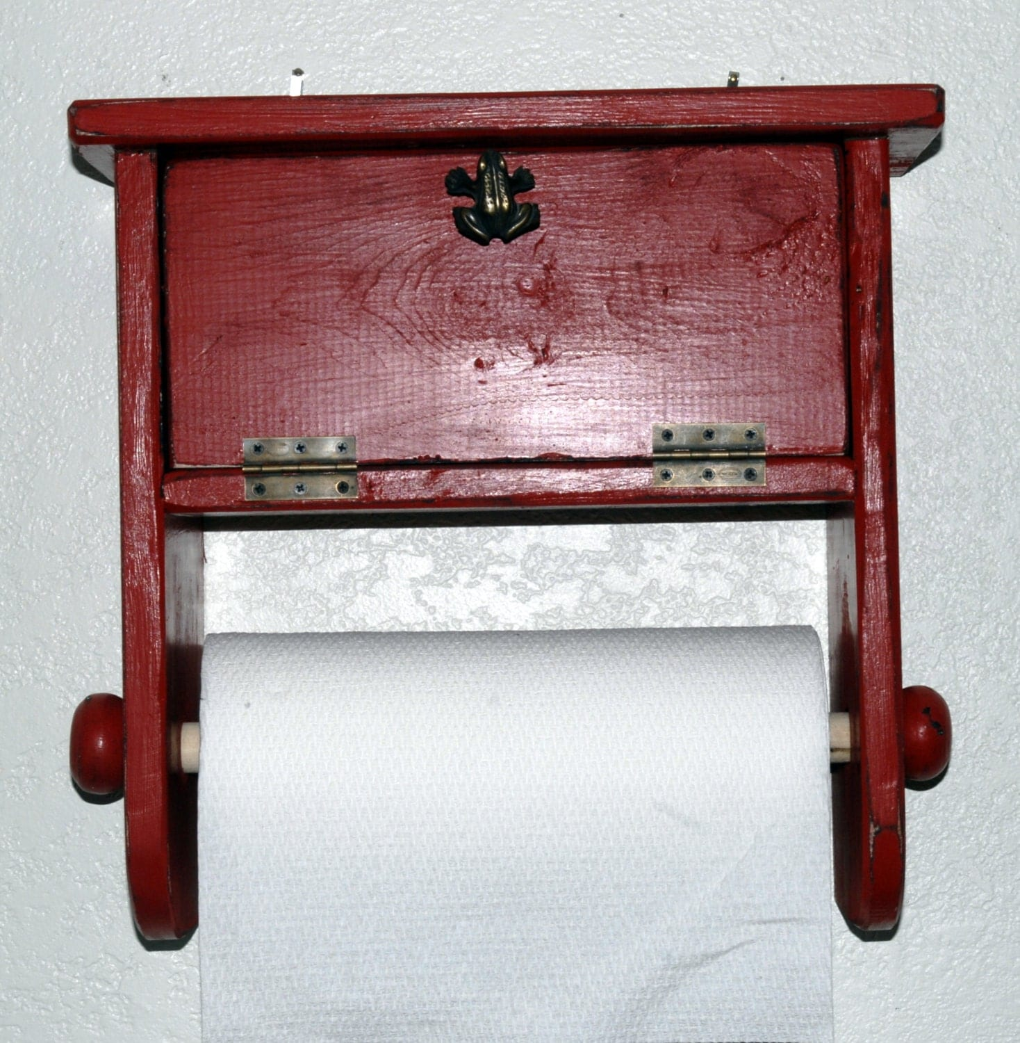 Shabby chic primitive paper towel holder with by for Shabby chic towel stand
