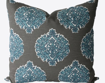 Decorative Designer Lacefield Madras Medallion Grey, Blue Pillow Cover, 18x18, 20x20, 22x22 or Lumbar, Throw Pillow