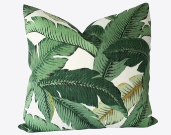 Decorative Designer Tommy Bahama Outdoor Green Palm Pillow Cover, 18x18, 20x20, 22x22 or Lumbar Throw PIillow