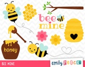 80% OFF SALE Bee Honey Spring Flower Cute Clip Art, Instant Download, Commercial Use