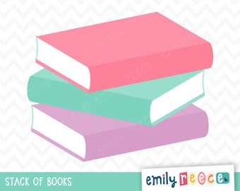 Books Stack of Books Learning Reading Cute Clip Art, Instant Download, Commercial Use