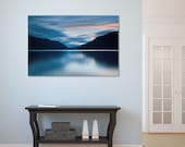 Lake House Decor, Mountains Photography, Canvas Gallery Wrap, Large Photo Print, Pacific Northwest Photo, Lake Crescent, Blue Turquoise Grey
