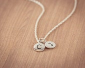 100% Stering Silver Letter Necklace, two (2) Initials  Necklace, Double Initial, Personalized Necklace, Name,  Circle Disc Charm
