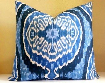 Duralee Denim Ikat pillow cover - Blue Ikat pillow cover-  Pick your size - Ikat Print on both sides OR Solid Back