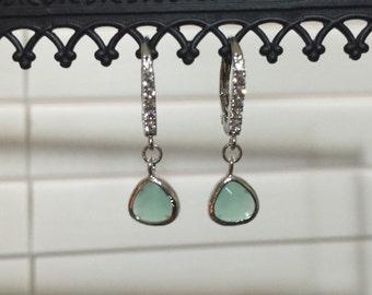 CZ and Mint Earrings