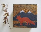 SALE- Fox Miniature Painting on Wood Panel